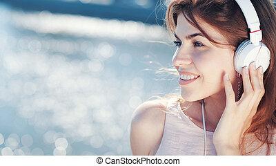 mooi, meisje, headphones, jonge