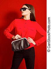 mooi, meisje, hemd, rood
