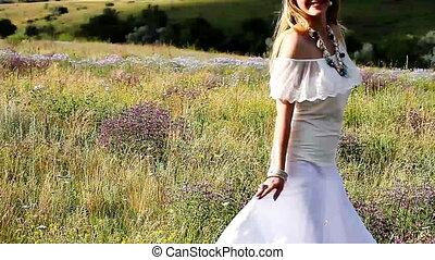 mooi, meisje, het genieten van, de, beauty, van, natuur