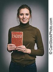 mooi meisje, houden, een, engelse , schoolboek