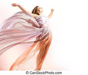 mooi, meisje, in, blazen, jurkje, vliegen