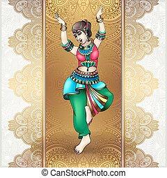 mooi, meisje, indiër, dancing