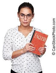 mooi meisje, is, leren, english., vrijstaand