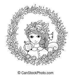 mooi, meisje, jonge, wreath.