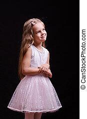 mooi, meisje, jurkje, witte , five-year