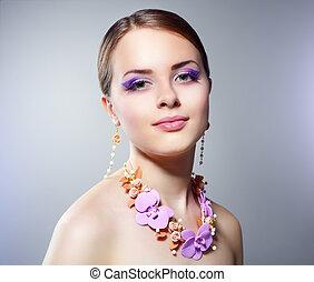 mooi, meisje, make-up