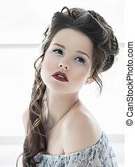 mooi, meisje, met, gezonde , schoonmaken, huid, en, chic, rode lippen