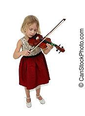mooi, meisje, met, viool