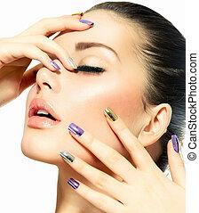 mooi, meisje, mode, face., manicure, make-up