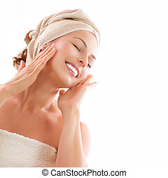 mooi, meisje, na, bad, aandoenlijk, haar, face., skincare