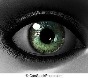 mooi, meisje, oog