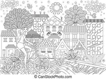 mooi meisje, op, fiets, in, een, stad, voor, kleurend boek