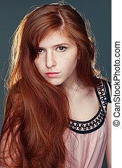 mooi, meisje, redheaded