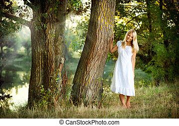 mooi, meisje, rivier, bos, elfje