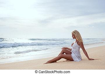 mooi, meisje, strand, jonge