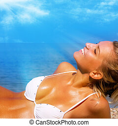 mooi, meisje, strand, relaxen