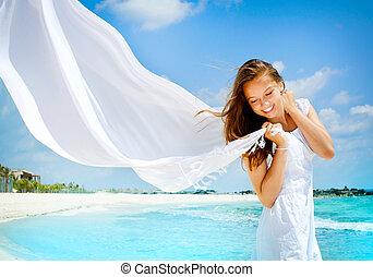 mooi, meisje, strand, witte , sjaal
