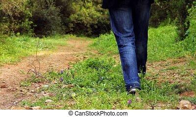 mooi, meisje, wandelende, op het pad, 2