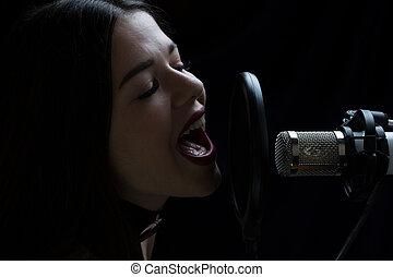 mooi, microfoon, opnamestudio, meisje, het zingen