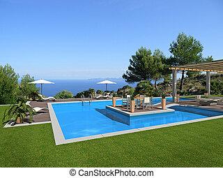 mooi, middelbare , -, vertolking, zee, eilandje, zwembad, aanzicht