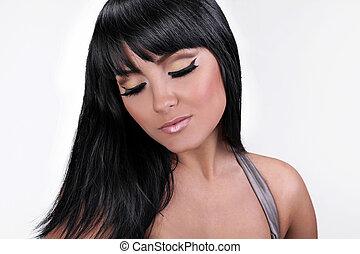 mooi, mode, brunette, makeup
