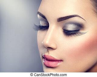 mooi, mode, luxe, makeup., lang, eyelashes, perfecte huid