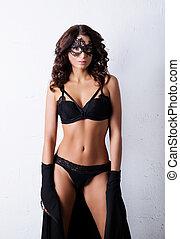 mooi, mode, mode, op, beauty, jonge, witte , glamour, achtergrond., erotische , lingerie, het poseren, model, concept.