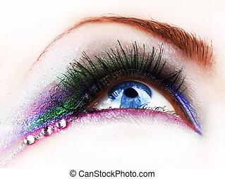 mooi, mode, oog makeup