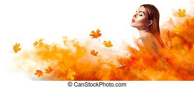 mooi, mode, vrouw, in, herfst, gele kleding, met, vallende verlofen, het poseren, in, studio