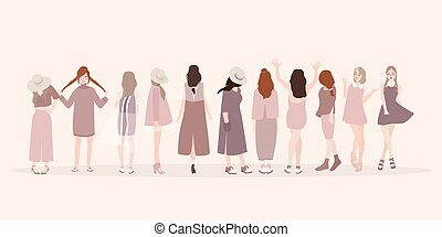 mooi, mode, women., tonen, dame, pose, jonge, vrijstaand, clothing., kleding, vrouwen