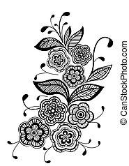 mooi, model, element, ontwerp, floral, black , witte