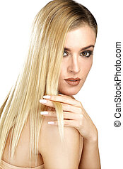 mooi, model, het tonen, haar, perfect, blonde, recht haar