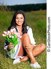 mooi, model, tiener, beauty, nature., buitenshuis, witte , het genieten van, jurkje, meisje