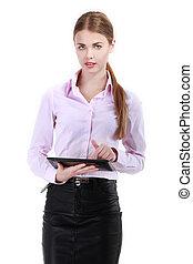mooi, moderne, businesswoman, vasthouden, tablet, computer