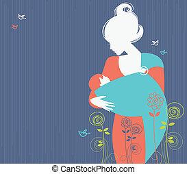 mooi, moeder, silhouette, met, baby, in, een, slinger, en,...