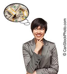 mooi, multiethnic, vrouw, met, gedachte, bellen, van, geld,...