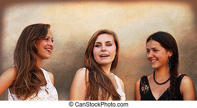 mooi, muur, ouderwetse , meiden, achtergrond, het glimlachen