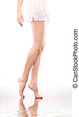 mooi, naakt, slank, benen