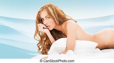 mooi, naakte vrouw, uitslapen van bed