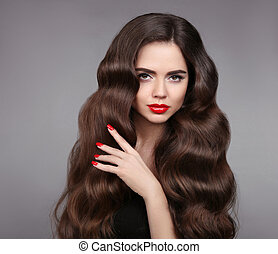 mooi, nails., beauty, makeup, vrijstaand, grijs haar, achtergrond., lippen, golvend, studio, manicured, verticaal, meisje, hair., model, rood