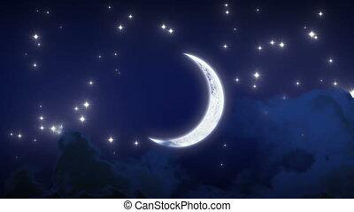 mooi, nieuwe maan, met, stars., lus