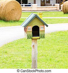 mooi, observeer vogels huis, in, een, boerderij