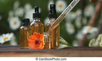 mooi, olie, achtergrond, houten, fles, zinnia, essentieel