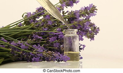 mooi, olie, achtergrond, lavendel, fles, witte , essentieel