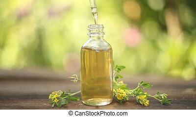 mooi, olie, burclover, achtergrond, fles, witte , essentieel