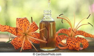 mooi, olie, fles, tafel, lelie, essentieel