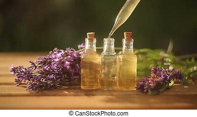 mooi, olie, lavendel, fles, tafel, essentieel