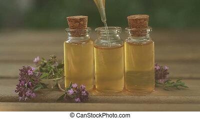 mooi, olie, tijm, fles, tafel, essentieel