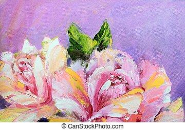 mooi, olieverfschilderij, rozen