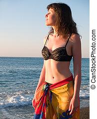 mooi, ondergaande zon , bikini, de dame van het strand